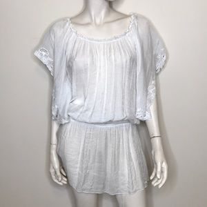 Bison Bisou white sheer lace ruffle dress flaws